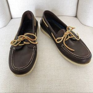 Men's Sperry Brown Leather Non-Marking Boat Shoes